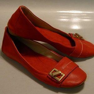 e6597307787f NINE WEST Womens Ballet Flat Red Leather Sz 5M EUC